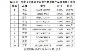 燃气热水器单季畅销榜:美的、海尔市占率接近20%